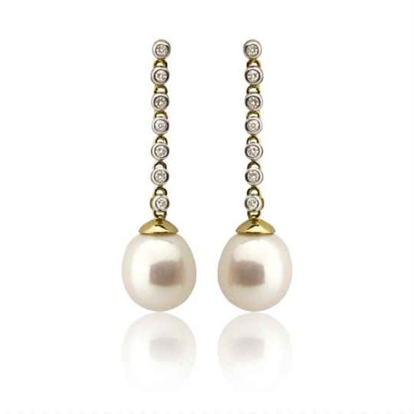 9ct Yellow Gold White Freshwater Pearl Dia. Earrings