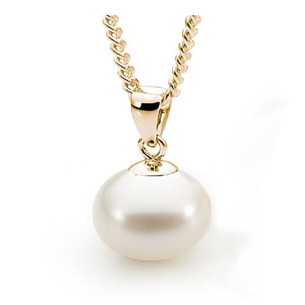 9ct Yellow Gold White Round 8.5-9mm Freshwater Pearl Pendant