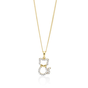 9ct gold cubic zirconia cat pendant