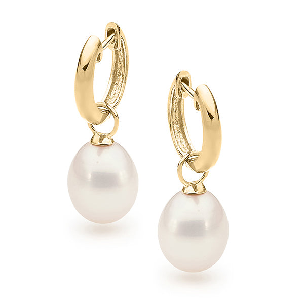 9ct yellow gold White 9-9.5mm Drop Freshwater Pearl Huggy Earrings