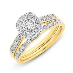 9Ct Gold 0.50Ct Diamond Bridal Set