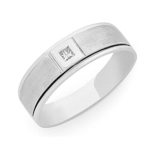 Sterling Silver Cubic Zirconia Mens Ring