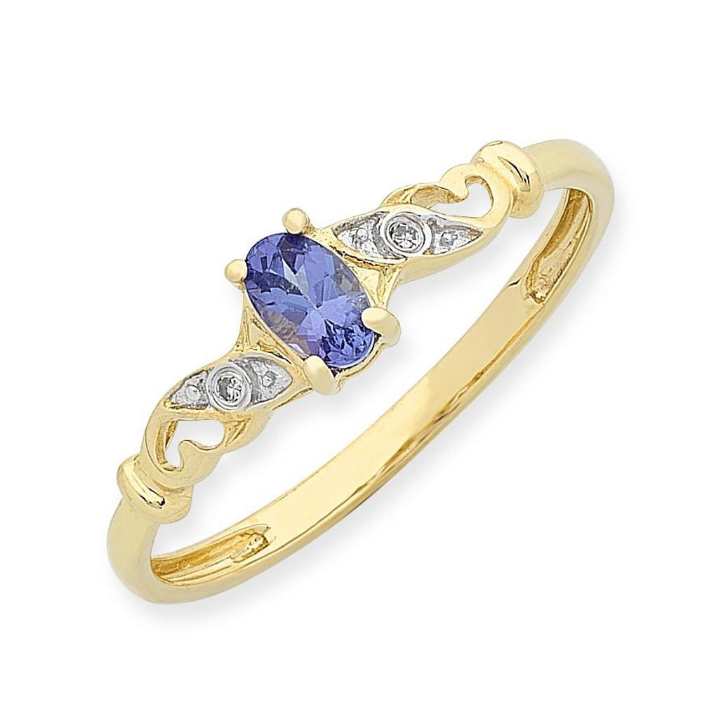 9Ct Gold Tanzanite & Diamond Ring