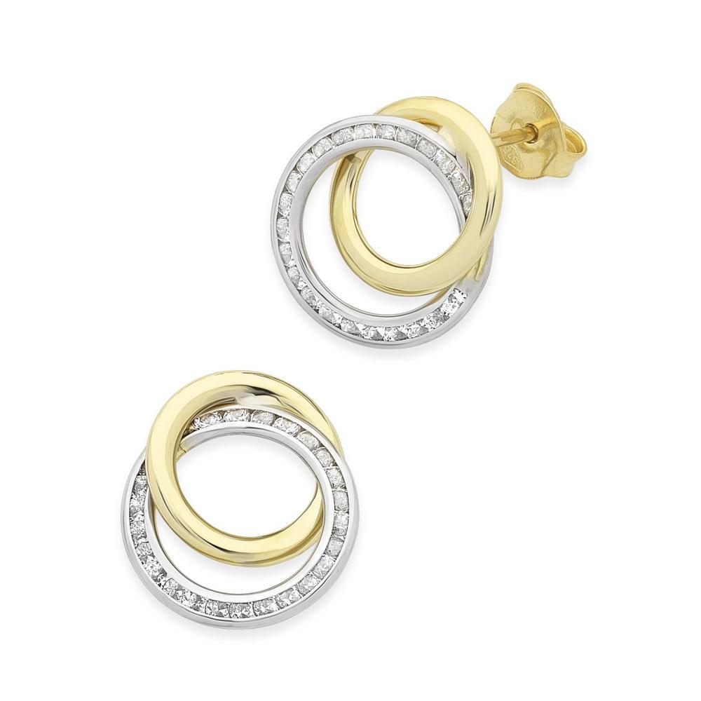9Ct Gold Two Tone Cubic Zirconia Earrings