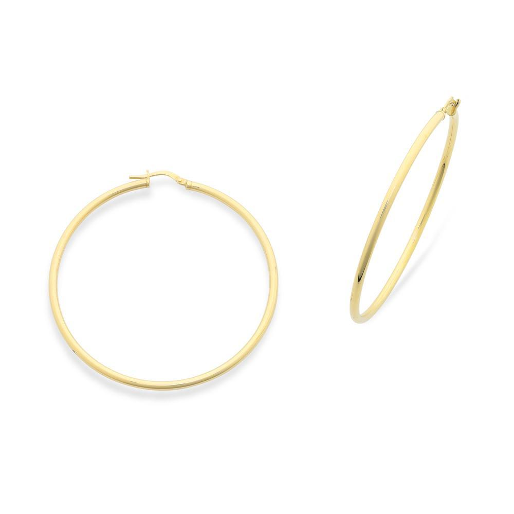 9Ct Gold Silver Filled 50Mm Hoop Earrings