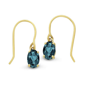 9Ct Gold London Blue Topaz Drop Earrings