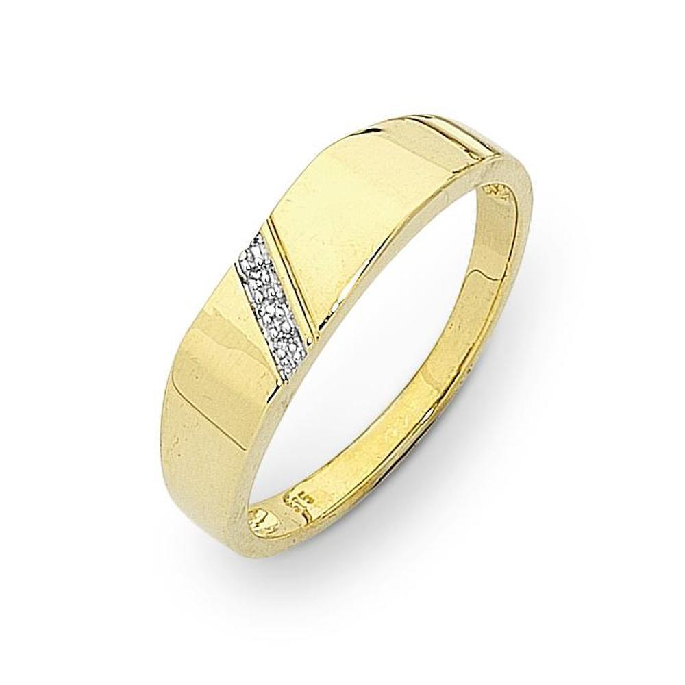 9Ct Gold Diamond Gents Ring