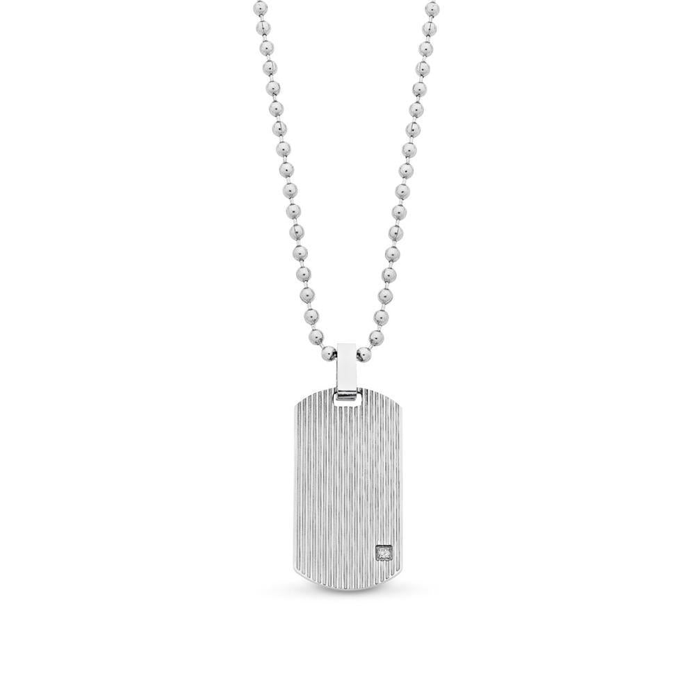 Crystal Set Stainless Steel Tag With Chain