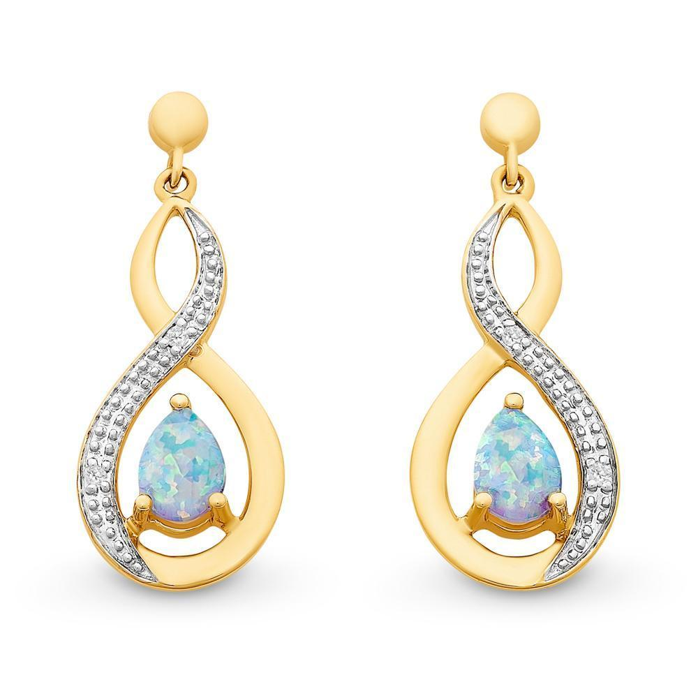 9Ct Gold Created Opal & Diamond Earrings