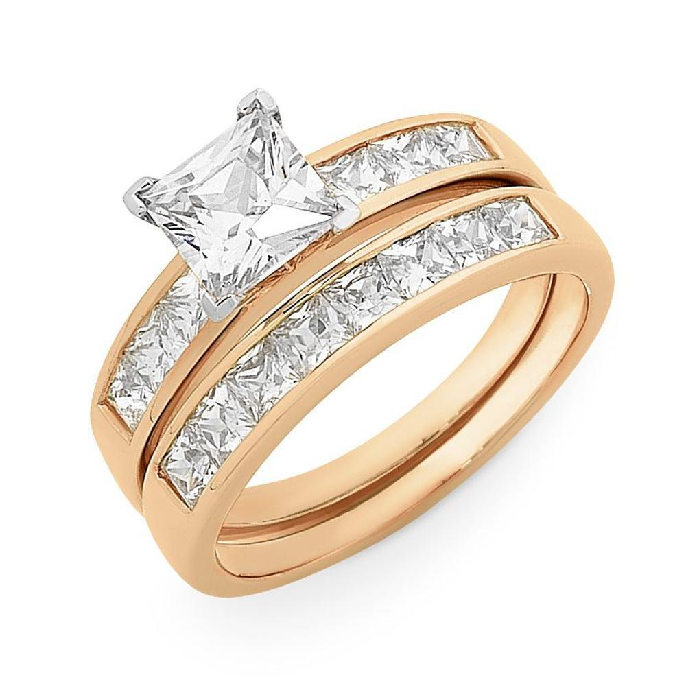 9Ct Rose Gold Cubic Zirconia Bridal Set