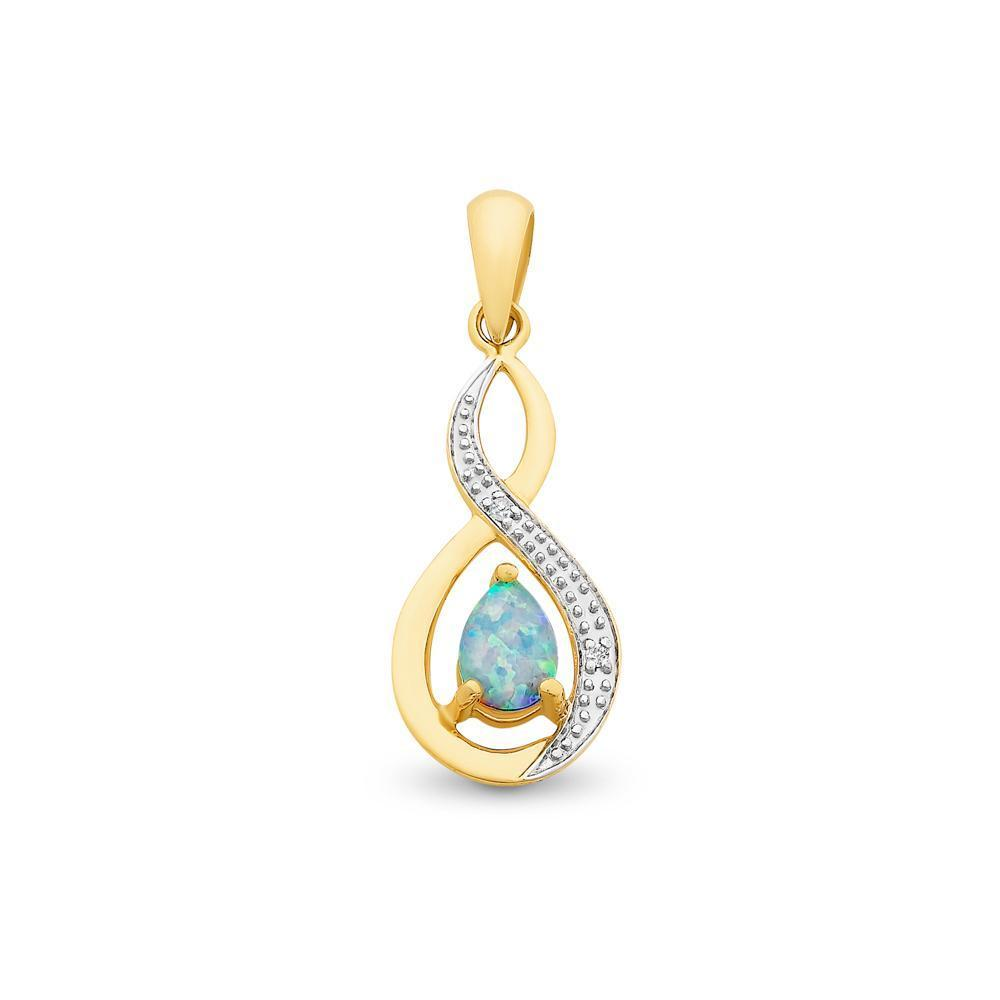 9Ct Gold Created Opal And Diamond Pendant