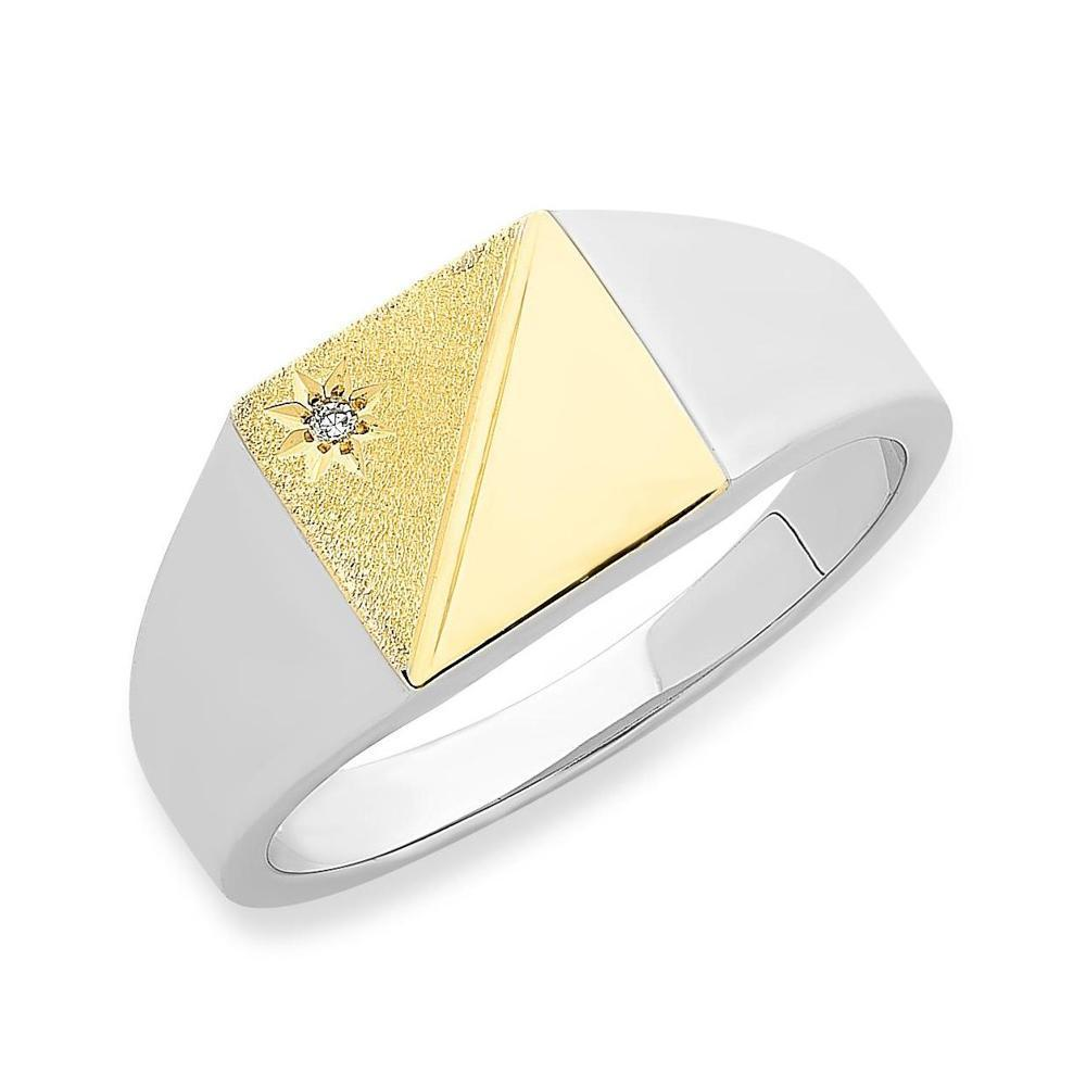9Ct Gold & Sterling Silver Diamond Mens Ring