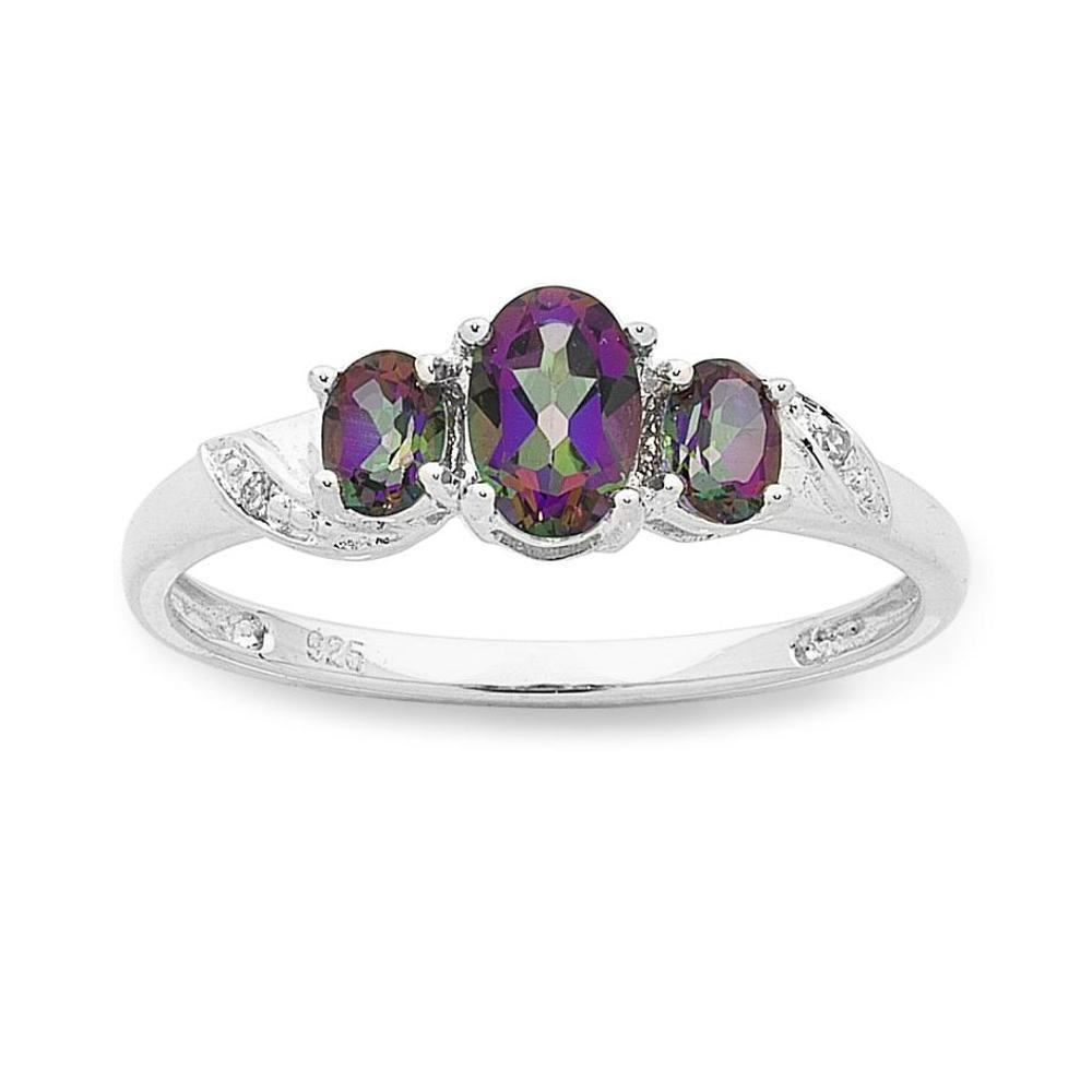 Sterling Silver Mystic Topaz & Diamond Ring