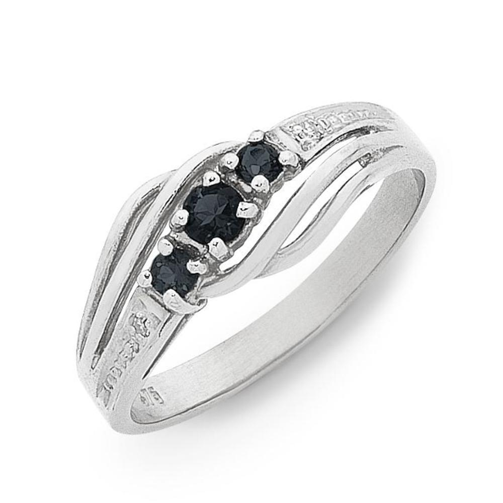 9Ct White Gold Natural Sapphire & Diamond Ring