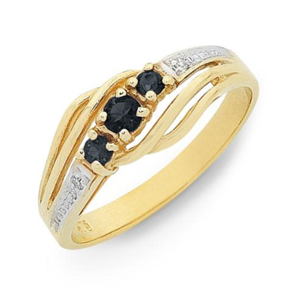 9Ct Gold Natural Sapphire & Diamond Ring