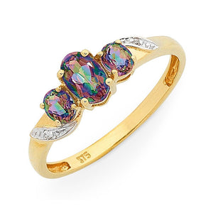 9Ct Gold Mystic Topaz & Diamond Ring
