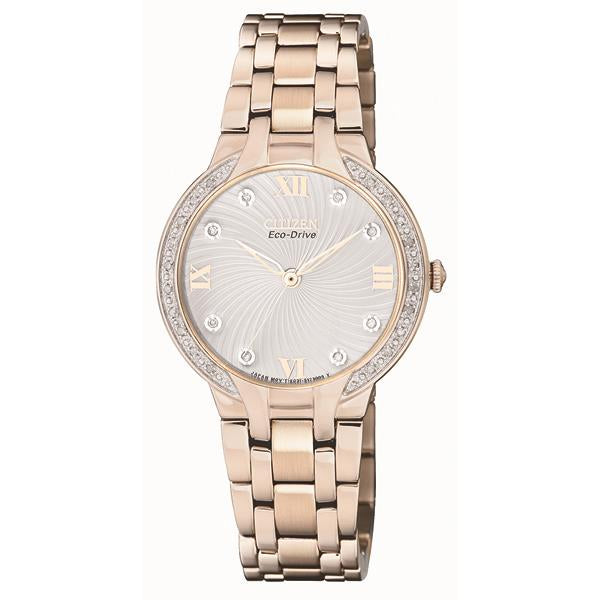 Citizen Ladies Eco-Drive Watch Bracelet Stainless Steel Rose Gold Plated
