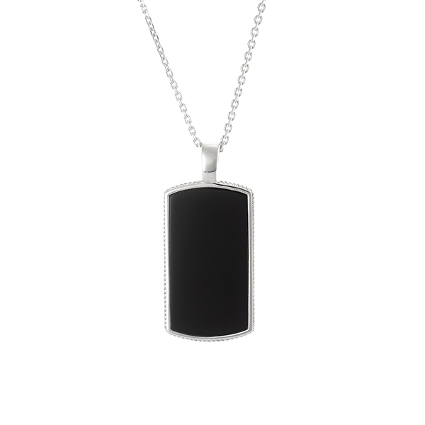 Cudworth Sterling Silver and Black Agate Dog Tag