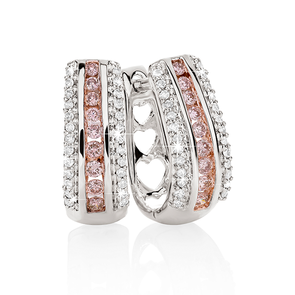 Desert Diamonds 9ct Pink Diamond Huggie Earrings