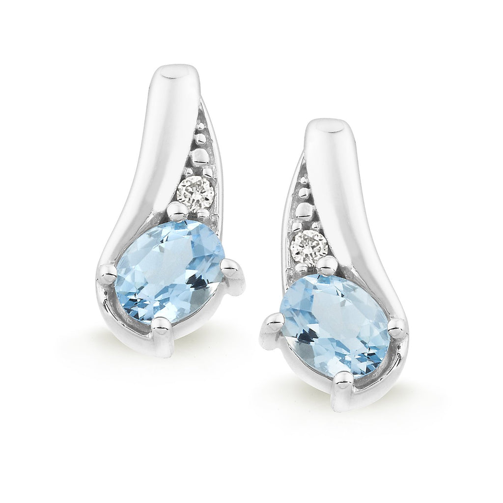 Aquamarine & Diamond Claw/Bead Set Stud Earrings in 9ct White Gold