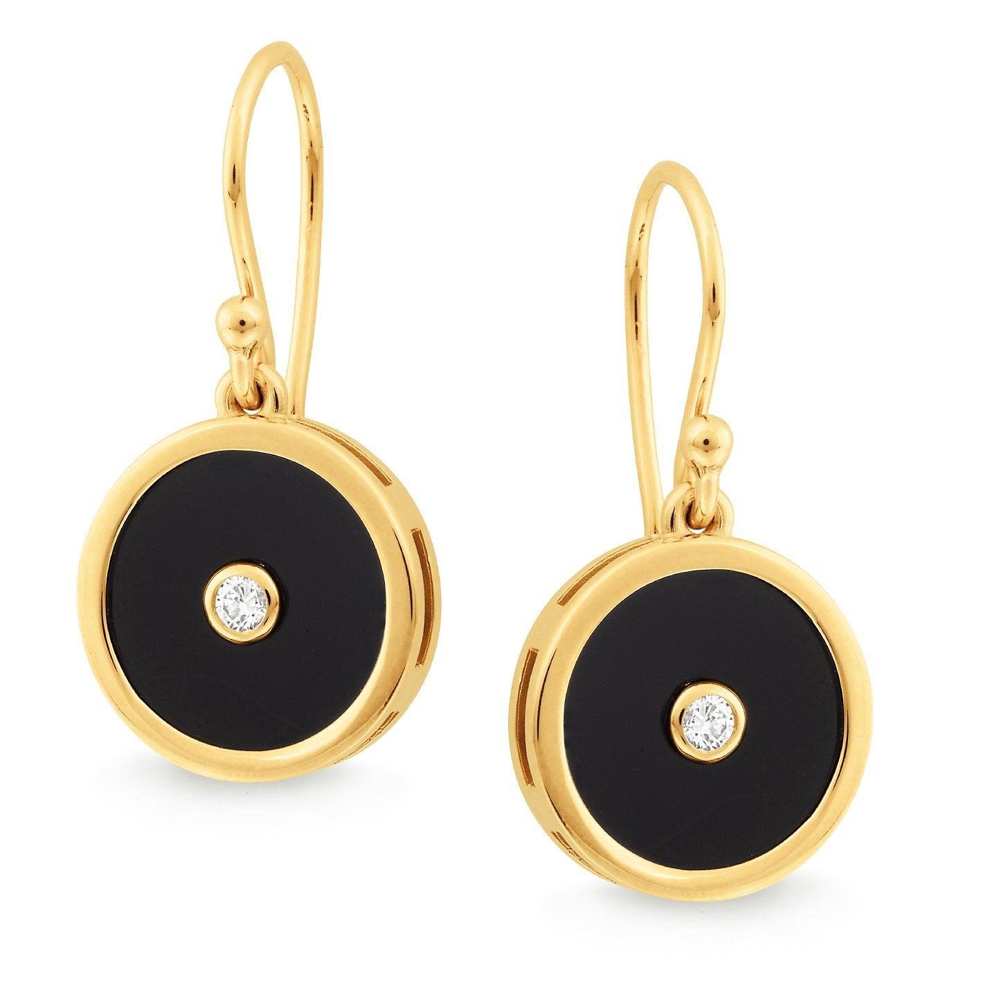 Onyx & Diamond Bezel Set Shepherd Hook Earrings in 9ct Yellow Gold