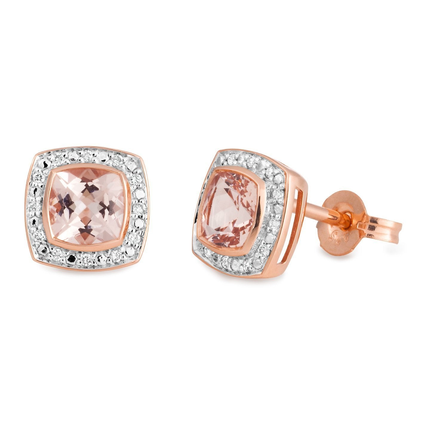 Morganite & Diamond Bezel/Bead Set Coloured Stone Earrings in 9ct Rose Gold