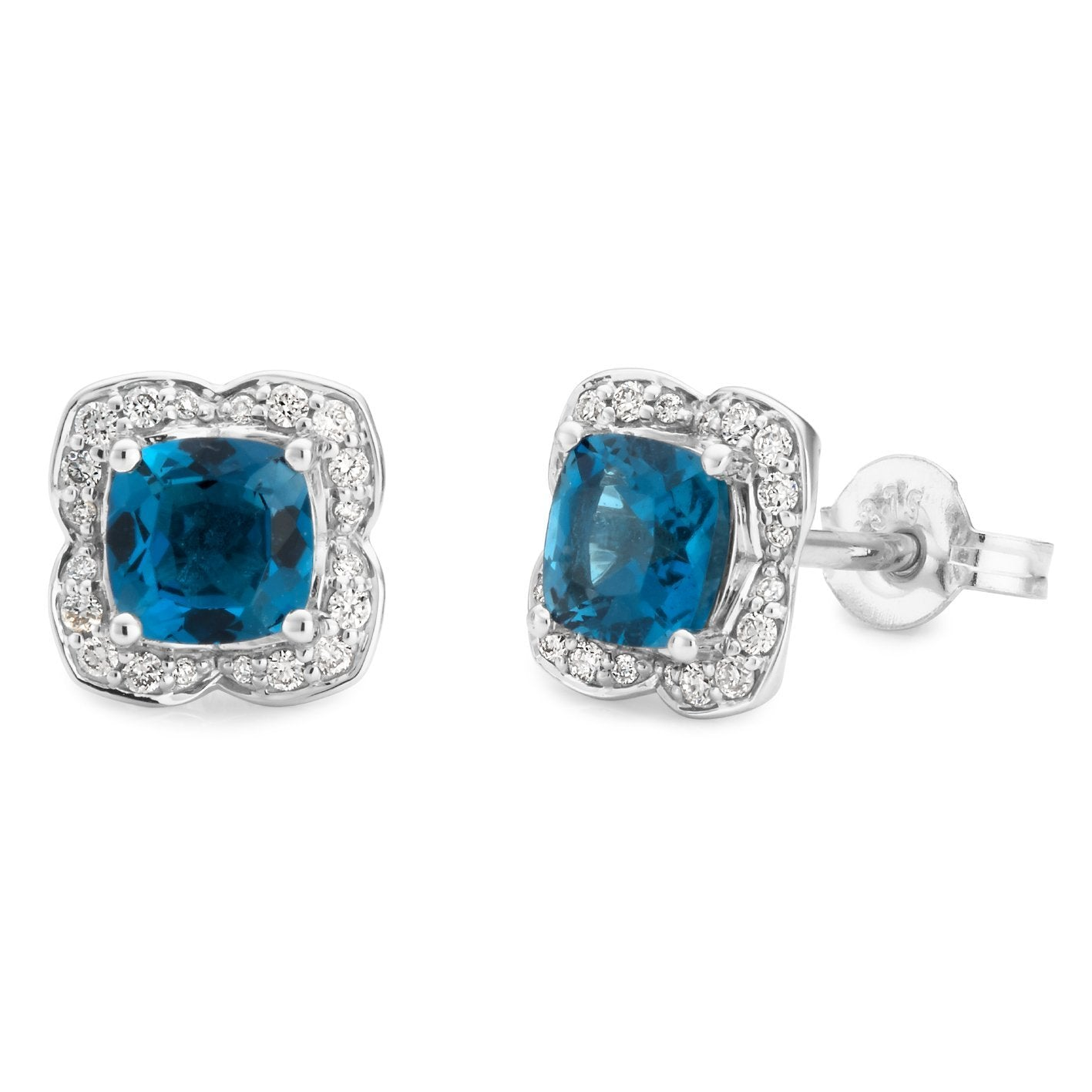 London Blue Topaz & Diamond Claw/Bead Set Stud Earrings in 9ct White Gold