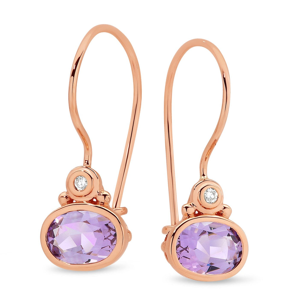 Pink Amethyst & Diamond Hook Earrings in 9ct Rose Gold