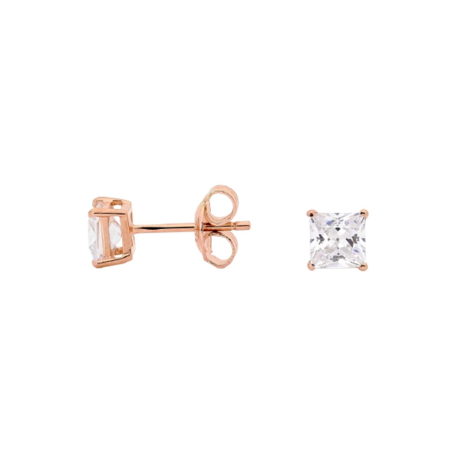Georgini - Rose Gold Plated Sterling Silver 5mm Cubic Zirconia Stud Earrings