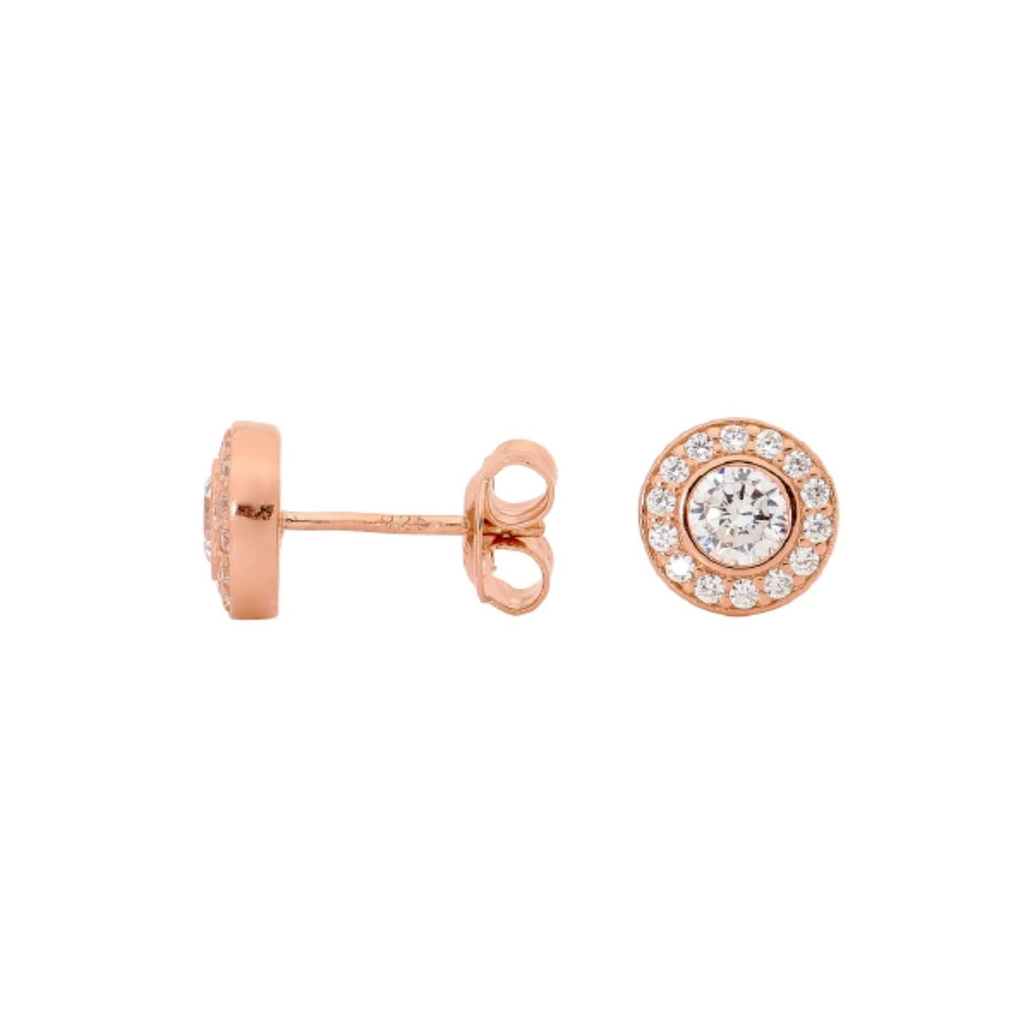 Georgini - Rose Gold Plated Sterling Silver Cubic Zirconia Stud Earrings