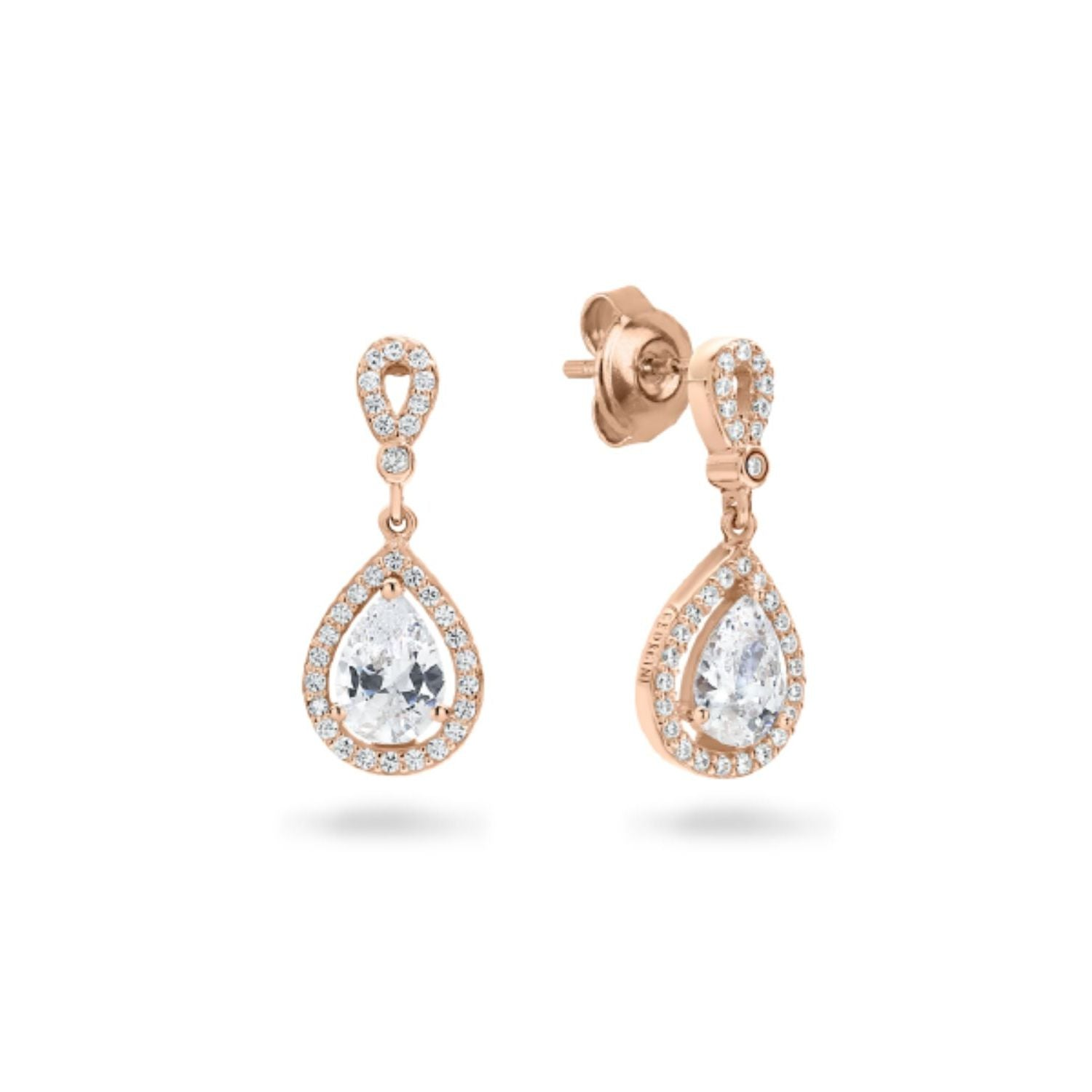Georgini - Libra Rose Gold Plated Sterling Silver Cubic Zirconia Drop Earrings