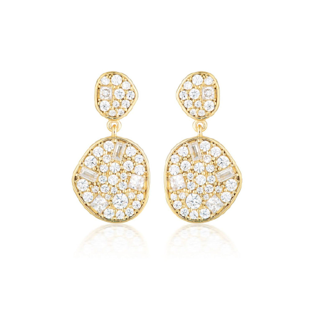 Georgini - Anna Mosaic Gold  Cubic Zirconia Drop Earrings