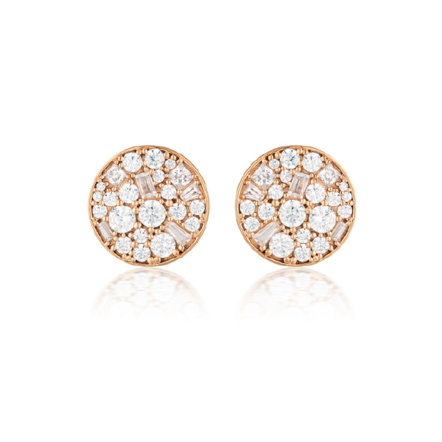 Georgini - Mosaic Disc Rose Gold Plated Sterling Silver Cubic Zirconia Stud Earrings