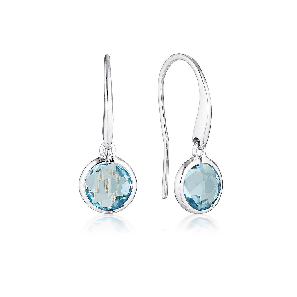 Georgini - Lucent Sterling Silver Blue Topaz Drop Earrings Small