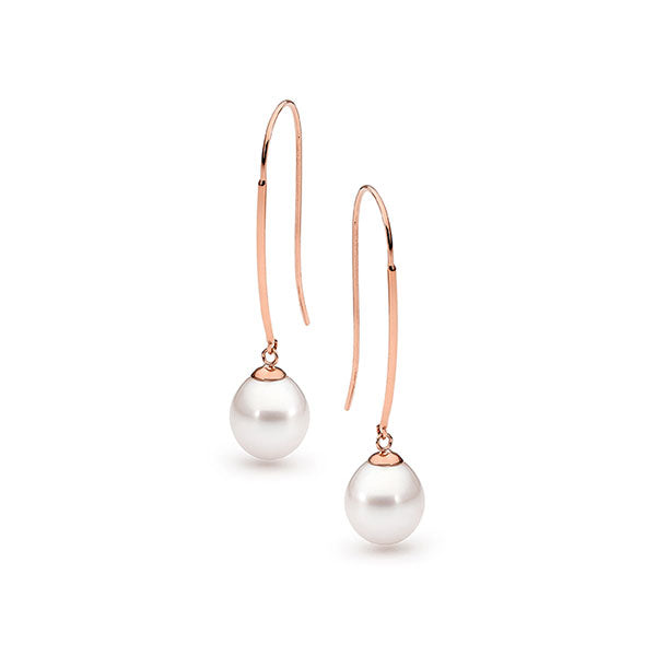 Ikecho 9 Carat Rose Gold Freshwater Pearl Long Hook Earrings