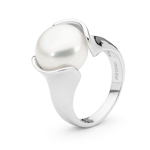 Ikecho Sterling Silver White Button Freshwater Pearl Ring Sizes M-O