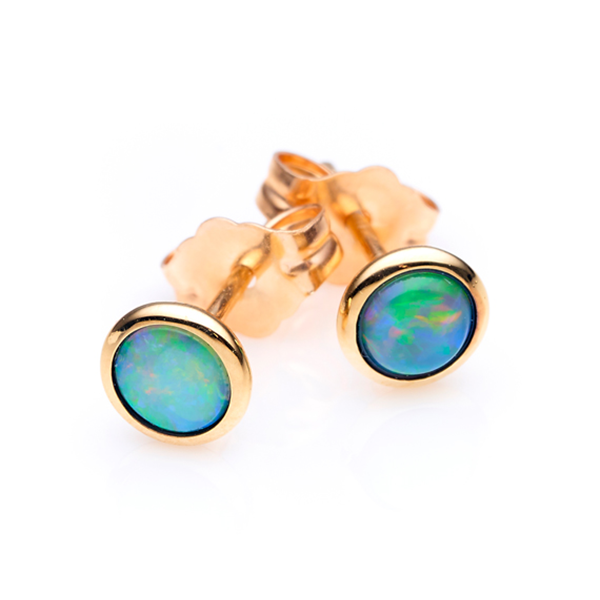 Ikecho 9ct Yellow Gold White Solid Opal 4mm Stud Earring