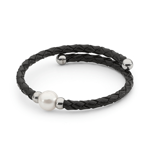 Ikecho Black Leather Bracelet with Freshwater Pearl