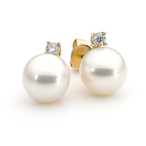 Ikecho Freshwater Pearl Diamond Stud Earrings