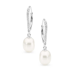 Ikecho Freshwater Pearl with Cubic Zirconia Hook Clip Earrings