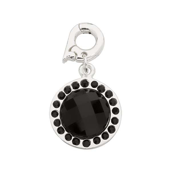 Nikki Lissoni A CHIC BLACK GLASS SILV PLT 15mm CHARM
