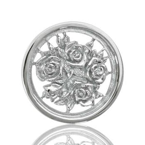Nikki Lissoni Bouquet With Roses, Two-Sided, Silver Plated with 'Someone Special' Engraving Coin