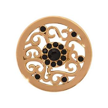 Nikki Lissoni Gold Plated Ancient Black Flower Coin