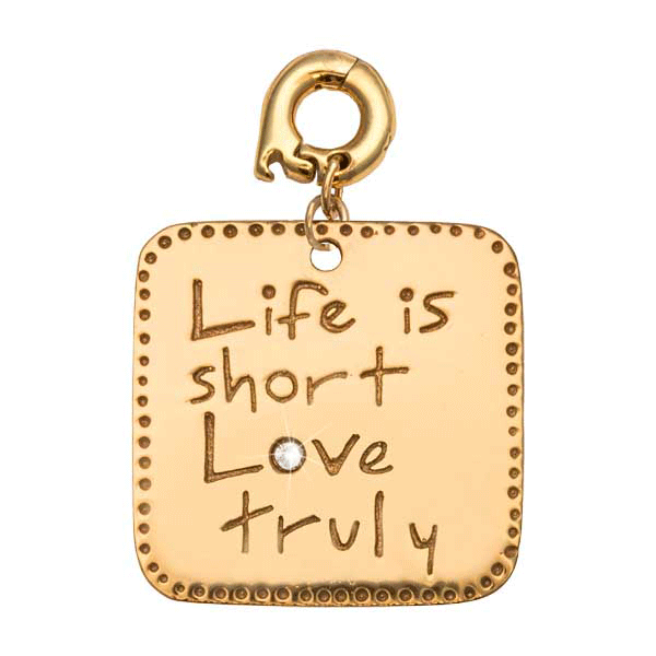 Nikki Lissoni Gold Plated Life Is Short 25mm Charm