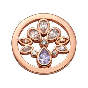 Nikki Lissoni Rose Gold Plated Orchid In Bloom Coin
