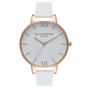Olivia Burton  White Dial Big Dial  Rose Gold Ladies Watch