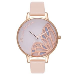 Olivia Burton  Embroidered Bfly Rose Gold & Silver Ladies Watch
