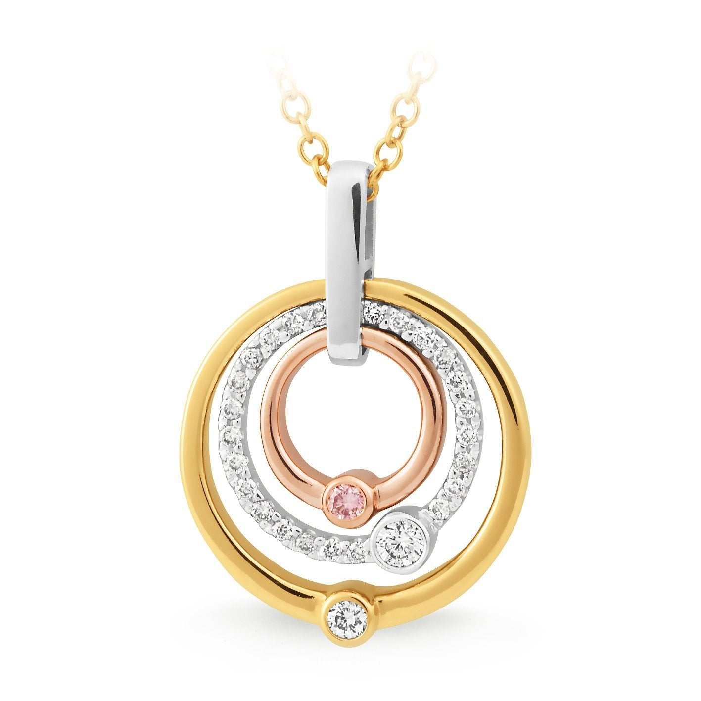 PINK CAVIAR 0.195ct Pink Diamond Pendant in 9ct Yellow, White & Rose Gold