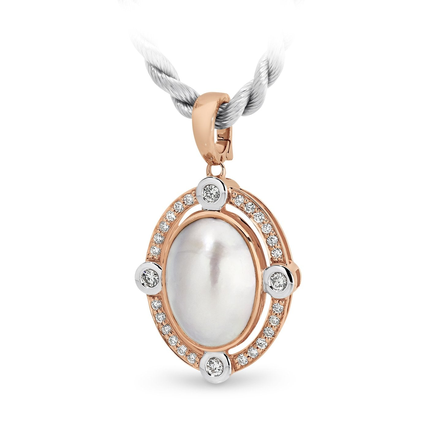 Mabe Pearl & Diamond Bezel Set Pendant in 9ct Rose Gold