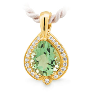 Green Amethyst & Diamond Claw/Bead Set Enhancer in 9ct Yellow Gold